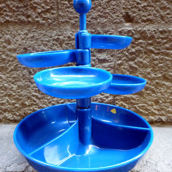 Vintage blue colour plastic snack tray from the 70's