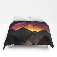 Whimsical mountain nights Comforters by HappyMelvin