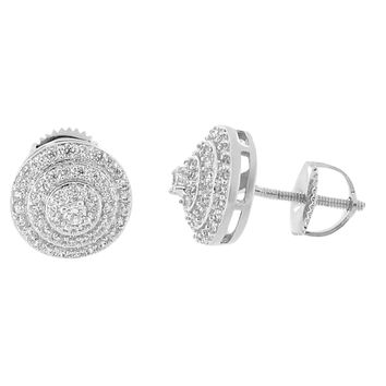 Iced Out Halo Design Earrings Hip Hop Simulated Diamonds 14k White Gold Finish Studs Men