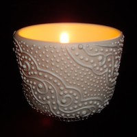 White Snow Swirls Porcelain Candle Holder
