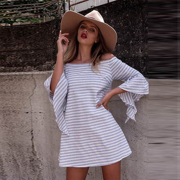 Loose Off Shoulder Stripe Long Sleeve Short Dress