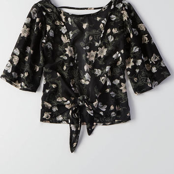 Don't Ask Why Chiffon Tie Back Top , True Black