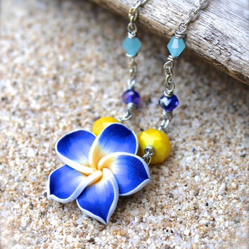 Plumeria Anklet Tropical Flower Jewelry from Hawaii Plumeria Jewelry Blue Flower Ankle Bracelet by Mermaid Tears Flower Anklet Beach Anklet