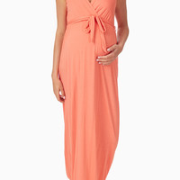 Coral Crochet Back Maternity/Nursing Maxi Dress
