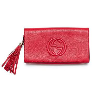 CREYIX5 Gucci Soho Leather Clutch Envelope Red Bag Tassel Handbag Bag Purse Italy New