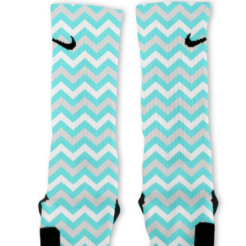Chevron Tiffany Blue Customized Nike Elite Socks