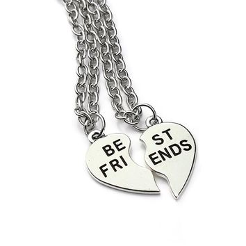 2016 New Arrival Best Friends Necklaces 2 Piece for Teens Broken Heart Vintage Silver Necklace Women Collane E Ciondoli F2948