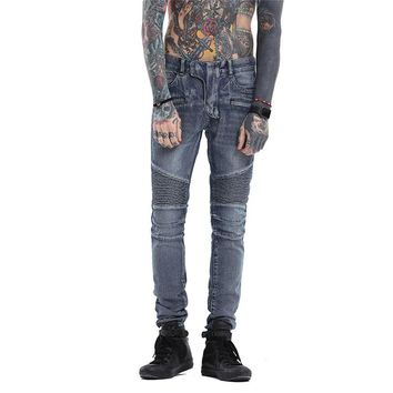 Men's Pleated Biker Jeans Slim Fit Brand Designer Motocycle Denim Trousers Male Straight Washed Zipper Type Jazz Punk Style Pant
