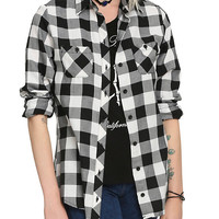 White and Black Plaid Girls Top