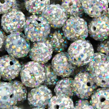 10mm Ab Crystal Rhinestone Clay Round Pave Beads -25
