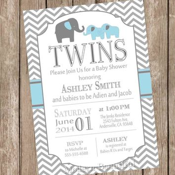 Twin Elephant Boys Baby Shower Invitation, Blue and Gray, Chevron Baby Shower Invitation, twin baby shower invitation, Printable,