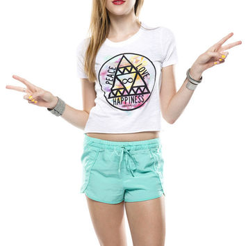 Peace Love Happiness Crop T-Shirt - Jawbreaking