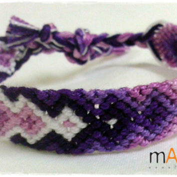 Lavender Purple Macrame Knotted Friendship Bracelet - Woven Wristband - to support our Cause