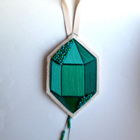 Textile wall hanging hand embroidered faux gem in emerald green with glass beads on canvas