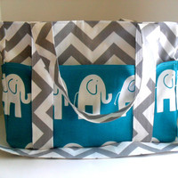 Extra Large Chevron Diaper bag Made of Grey and White with Turquoise  Elephant Fabric / Elastic Pockets