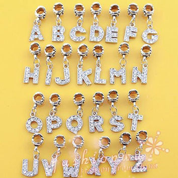 Free Shipping A-R Alloy Bead Charm European Letter Of The Alphabet Silver Plated Bead Fit Pandora Bracelets & Bangles Jewelry B8