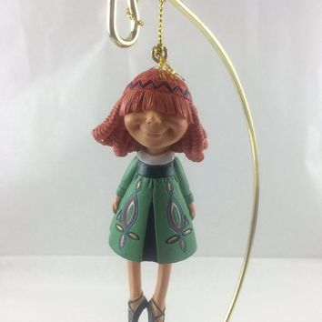 Curly Red Haired Irish Girl Ballerina Ornament - Ceramic - Vintage 1980 - Gold String Hanger - Holiday Decor - Christmas Decoration