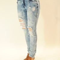 High waisted distressed denim