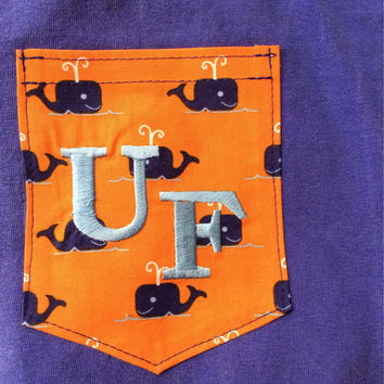 UF Embroidered Whale Pocket Tank or T-Shirt