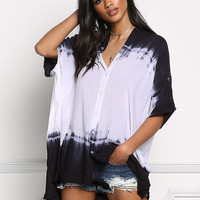 Navy Color Block Tie Dye Tunic Blouse