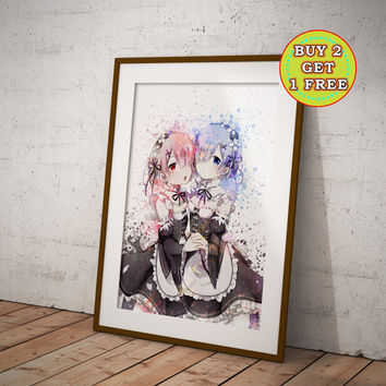 ReZero Rem and Ram, Re:Zero Kara Hajimeru Isekai Seikatsu Anime Print, Anime Watercolor, Manga Art, Anime Wall Art, Anime Decor, OC-985