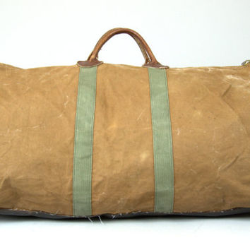 70s L.L. Bean Duffle Bag LARGE Canvas and Leather Work Wear Tote Bag