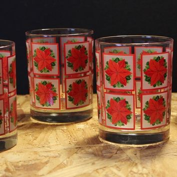 Georges Briard Poinsettia Lowball Glasses, Set of Four