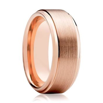 Tungsten Wedding Band - Men and Women - Comfort Fit - Rose Gold Brushed Beveled Edge - Tungsten Carbide Wedding Ring -  4mm - 6mm - 8mm - 10mm