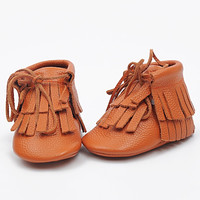 Double Fringe Baby Moccasins- Pumpkin Spice