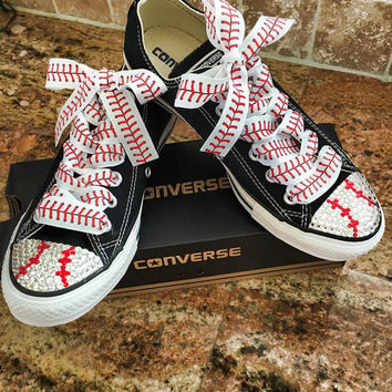 Baseball themed blinged converse