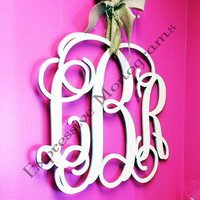 18 INCH Wood Monogram Letter - Great for Wedding, Door and Wall Decor - Free Preview- Unpainted