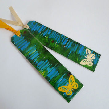 Set of  2 Bookmarks Butterflies, Hand Painted  Laminated, Silk Ribbon Blue & Green Unique, Original Watercolor By Dhana
