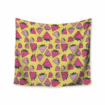 """bruxamagica """"Strawberry Yellow"""" Yellow Pink Food Pattern Mixed Media Digital Wall Tapestry"""