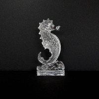 "Vintage Waterford Crystal Seahorse Figurine, 7"" Tall, Signed"