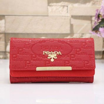 PEAPJ3V PRADA Women Fashion Leather Shopping Wallet Purse-1