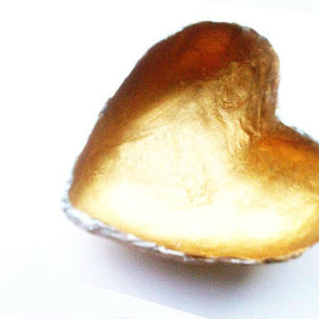 Heart Bowl- Hand Made Gold & White Papier Mache gold Heart  shaped Bowl valentines day gift