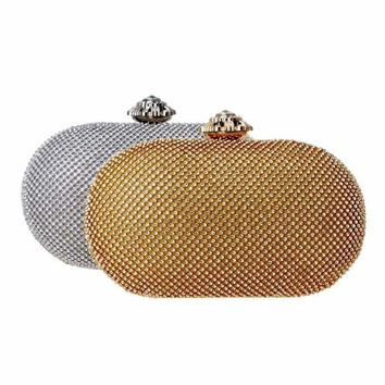 Rhinestones Women Evening Bag Flower Metal Crystal Clutch