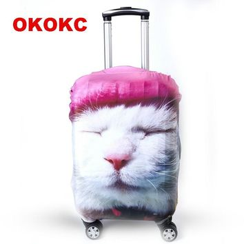 OKOKC Cartoon Cat Elastic Travel Luggage Suitcase Protective Cover for Apply to 19''-32'' Suitcase Cover, Travel Accessories