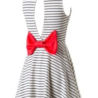 Bow Back Striped Dress
