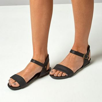 Black Velcro Strap Sandals | New Look