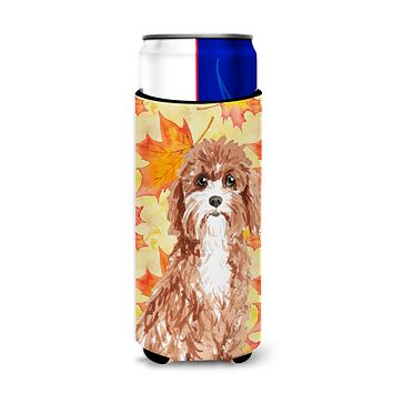 Fall Leaves Cavapoo Michelob Ultra Hugger for slim cans CK1844MUK
