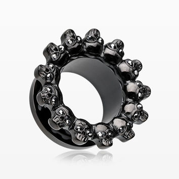 A Pair of Blackline Ring of Death Skull Sparkle Screw-Fit Eyelet Plug
