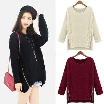 Fashion Women Long Sleeve Knitted Pullover Jumper Baggy Sweater Zipper Knitwear FT = 1946091908