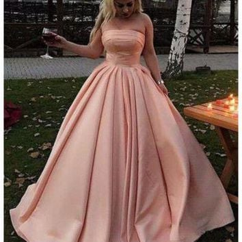 Strapless Pink Long Prom Dress Formal Occasion Dress