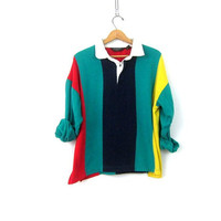 Striped Rugby Sweatshirt 90s collar Bold Stripe Boyfriend Henley Top Green Oversized baggy Hipster Colorblock Shirt Christian Dior Medium