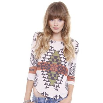 Junior's Southwestern Boho Print 3/4 Lengh Sleeve Top L569