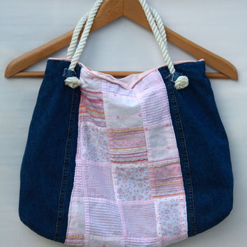 Denim and Pink Quilt Detail Tote Bag - Upcycle - OOAK - Free Shipping