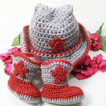 Baby Boy Cowboy Set--Western Hat and Boots -Gift Set-Red and Gray--Baby Shower Gift
