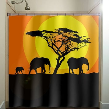 orange sunset acacia tree elephants shower curtain bathroom decor fabric kids bath white black custom duvet cover rug mat window