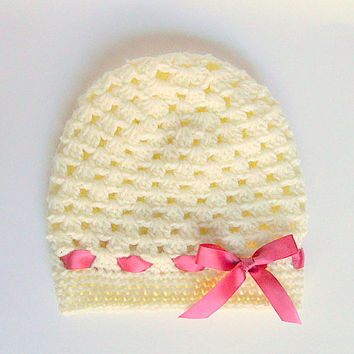 Toddler Girl Cream Hat With Pink Ribbon  Baby Light Tan Fall Beanie 1 To 2 Year Old Infant Pastel Beige Cap With  Mauve  Bow Winter  Cloche